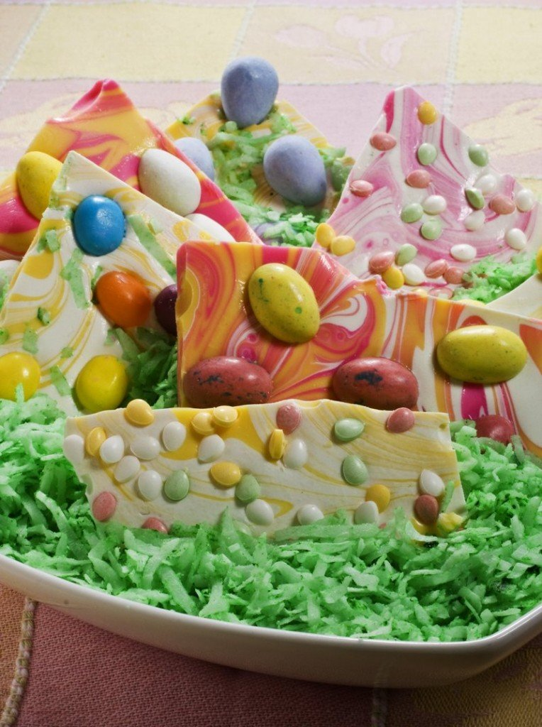 This colorful bark is easy to make, fun to do with the kids, and a good way to use up that surplus Easter candy.