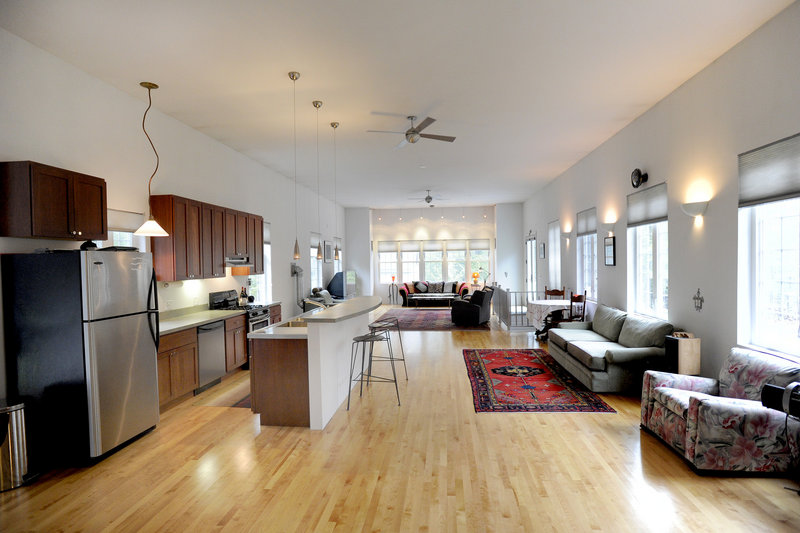 The one long first floor encompasses a variety of living spaces.