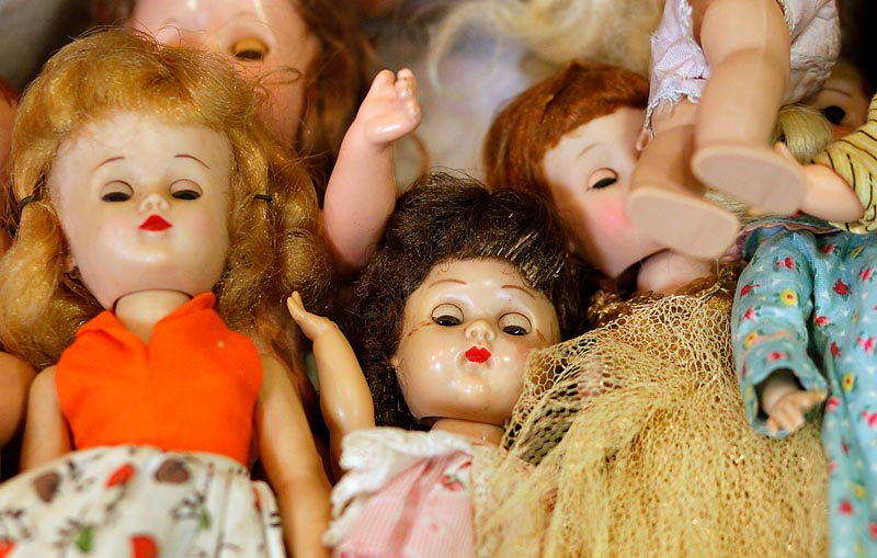 These are some of the dolls that were sold over the weekend at the Antique Toy and Doll Buying Show at the Clarion Hotel in Portland. The event started Saturday and continues through Wednesday.