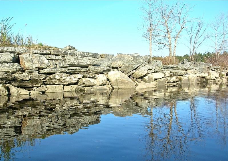The granite remains of the former Merrymeeting Bay Bridge.