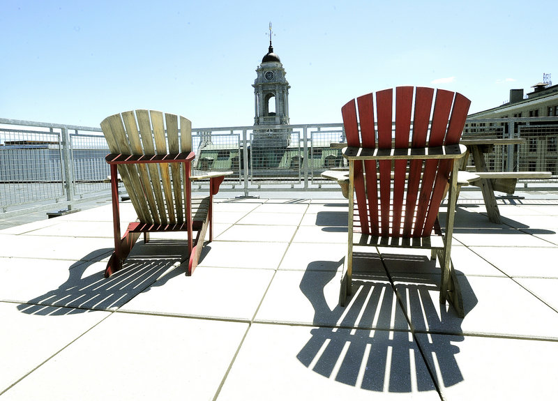 The rooftop patio at Heather Frederick's condo in the new Chestnut Street Lofts in Portland