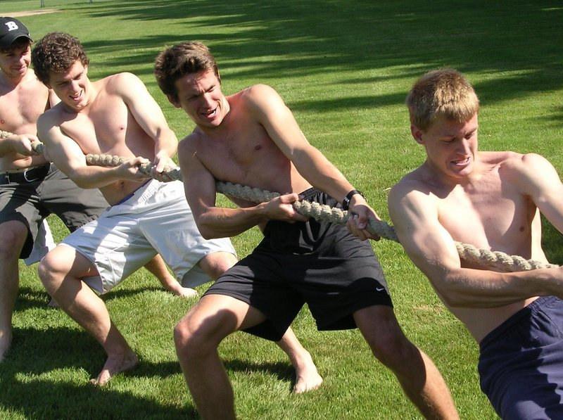 A tug-of-war promotes fitness and can be a good time.