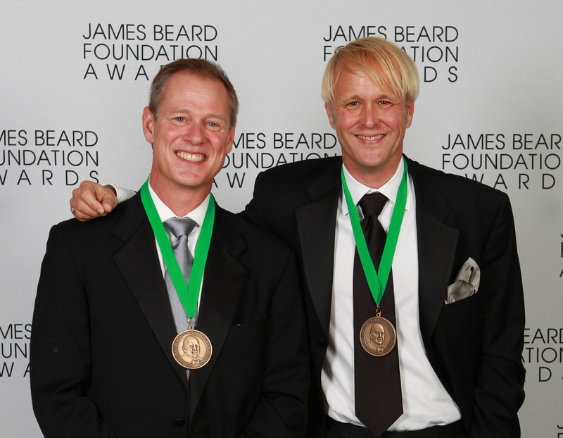 Happiness is: Mark Gaier, left, and Clark Frasier smile for the cameras moments after winning their James Beard award for Best Chef in the Northeast.