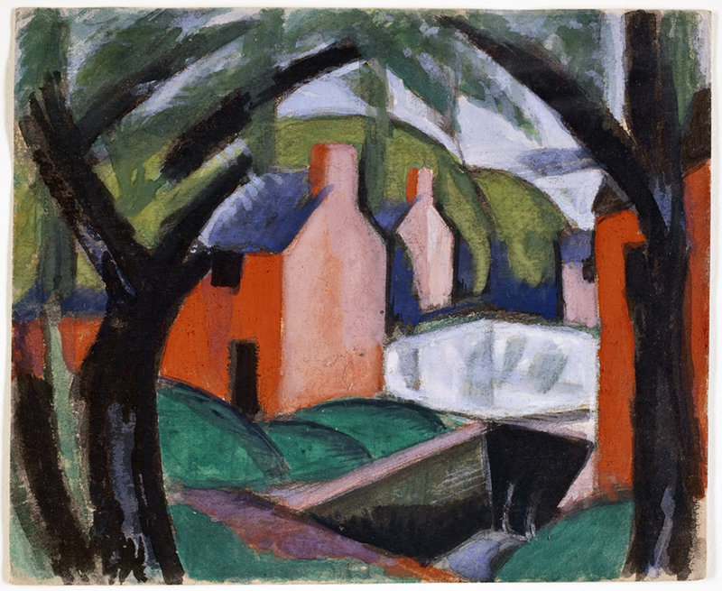 "Oscar Bluemner's ""Landscape with Arched Trees,"" 1918, gouache."