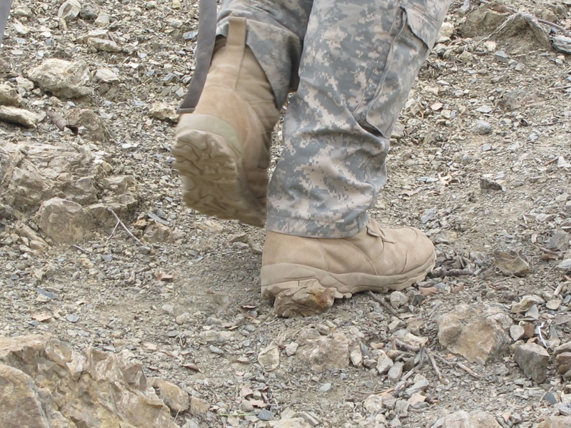 Boots on the ground en route to Bravo Company's Observation Post 13 high atop a mountain in eastern Afghanistan.