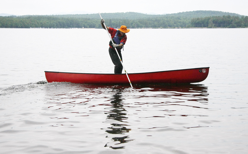 Harry Rock demonstrates the techniques of modern poling in Bridgton's Moose Pond.