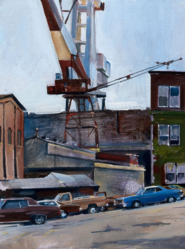 """Bath Iron Works,"""" 1978, oil on canvas, 10 by 8 inches"""