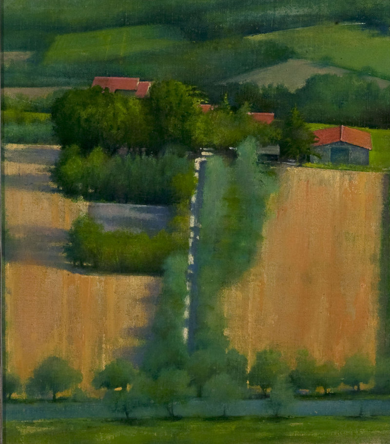 """""""Farm House, Umbria,"""" 2008, oil on muslin, 9 by 8 inches"""