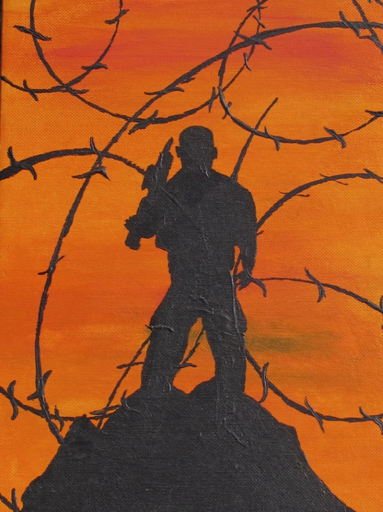 A self-portrait shows Bravo Company Sgt. San Pao standing in silhouette on a mountain peak, one of many paintings he's created at his combat outpost in eastern Afghanistan.