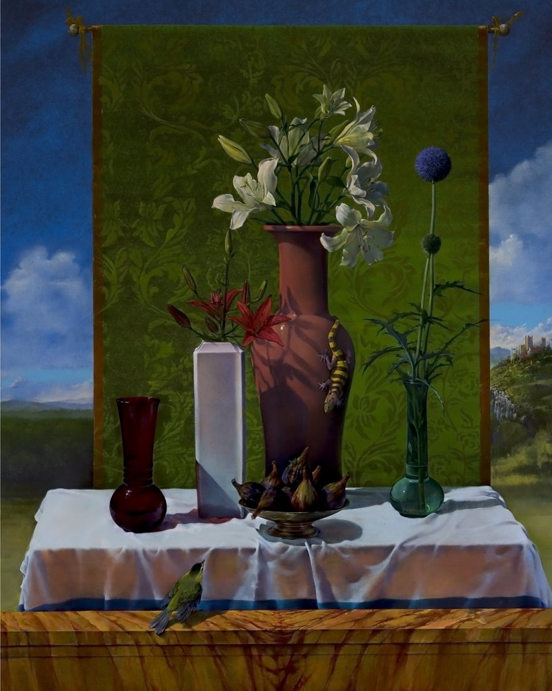"""Joseph Nicoletti's """"Still Life After Bellini,"""" 2003, oil on canvas, 50 by 40 inches, at the Bates College Museum of Art in Lewiston"""