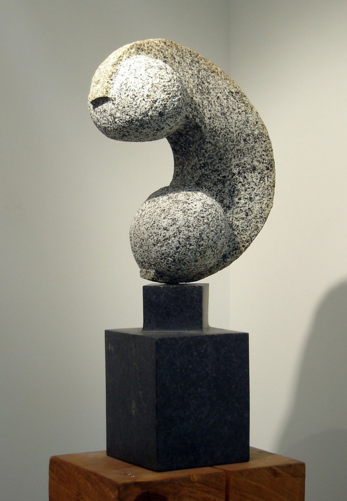 "Mark Herrington, ""Two Sphere Study,"" stone, 26 inches"