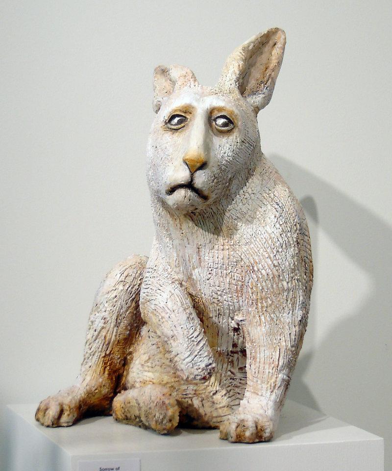 "Elizabeth Ostrander, ""Sorrow of the White Rabbit,"" ceramic, 19 inches"