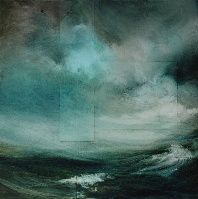 """Sea IV,"" mixed media on panel, by Susan Barnes at Greenhut Galleries in Portland."