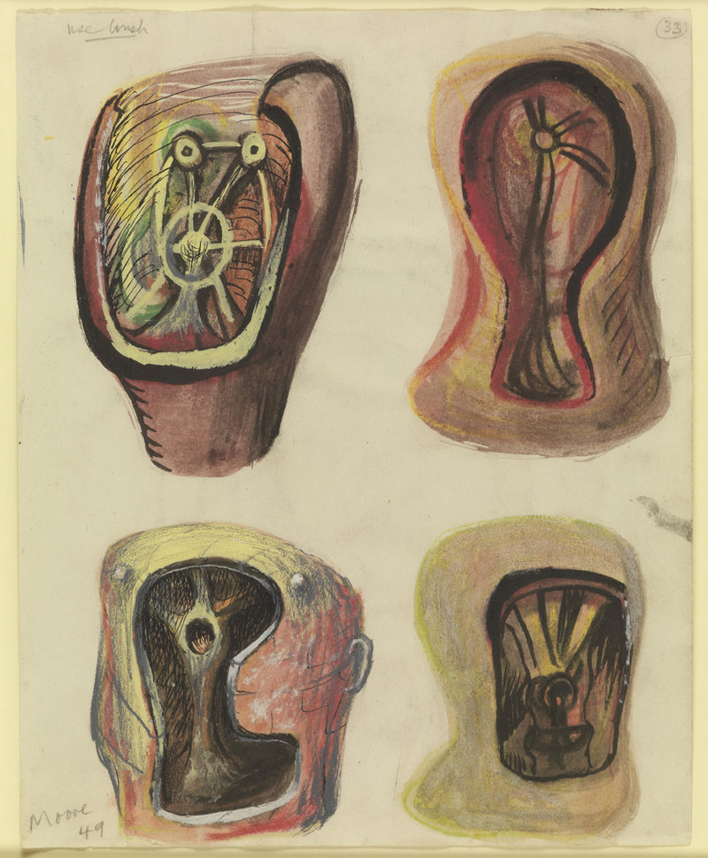"""""""Helmet Heads,"""" 1949, pencil, chalk, charcoal, wax crayon, watercolor, ink and gouache"""