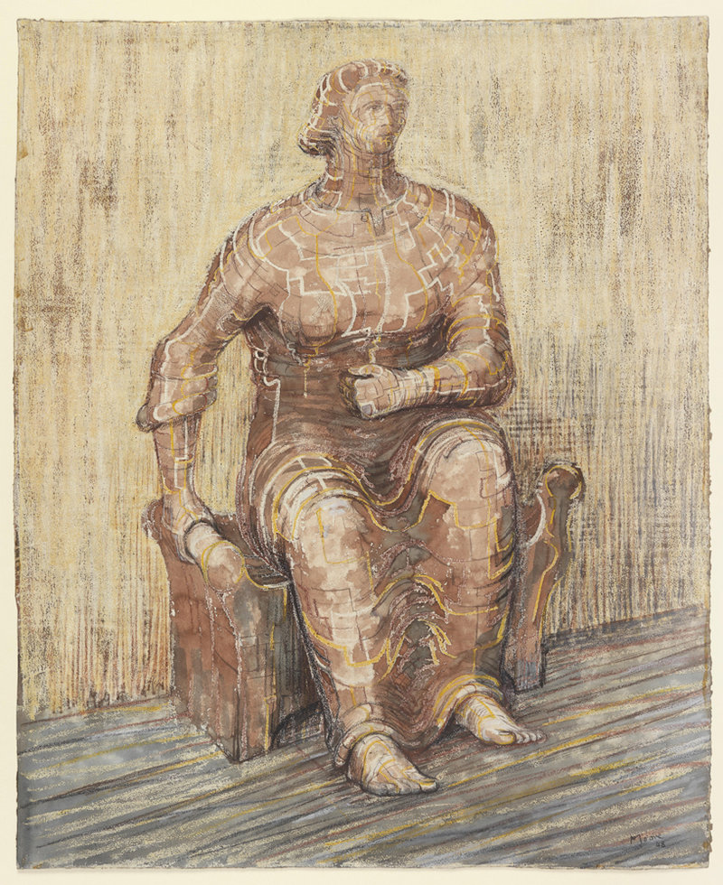 """Seated Woman"" 1948, pencil, wax crayon, ink and wash"