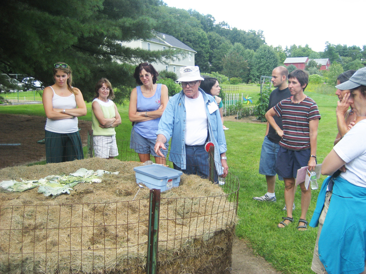 Norm Steele, at left, talks about composting during last year's Backyard Locavore Tour. His garden is once again on the tour.