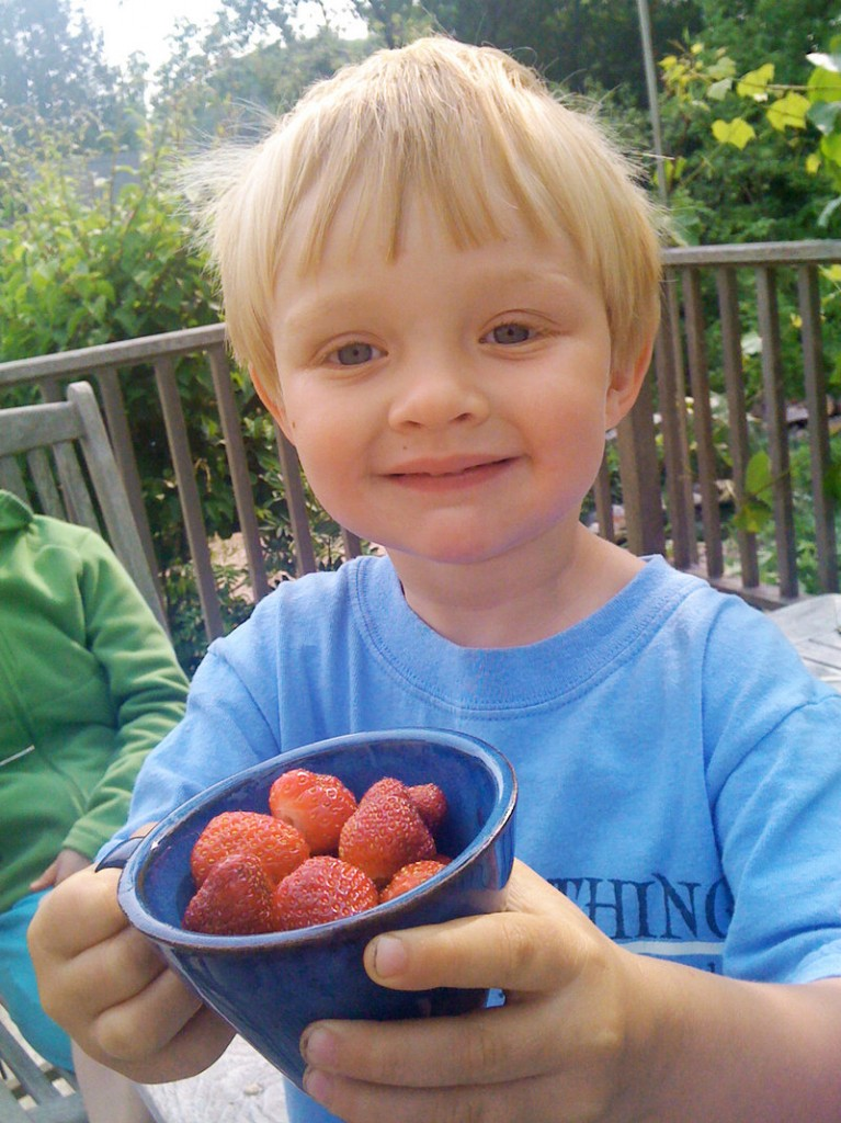 Rowan Whitten shows off fresh-picked strawberries from the edible perennial landscape at his house, at the Fernandes home, which is part of this year's tour.
