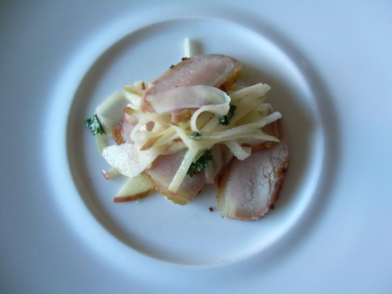 Chef Erik Desjarlais' shaved Liberty apple with peameal bacon and fennel.