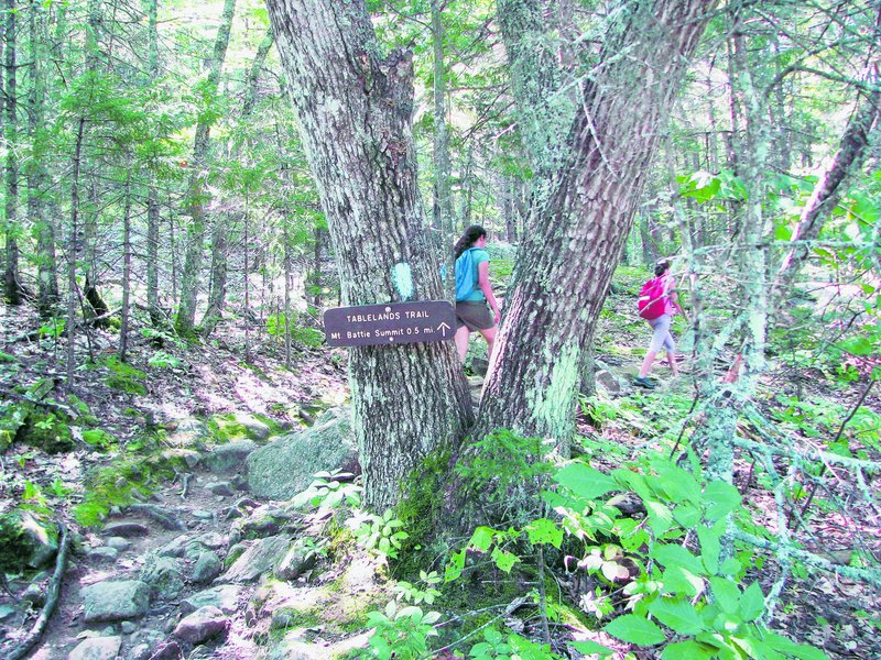 The Tablelands Trail in Camden Hills State Park leads to the trail to the summit of Mount Battie. The park offers trails of varying difficulty for hikers.