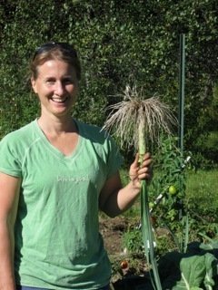 Tracy Weber in the Yarmouth Community Garden.