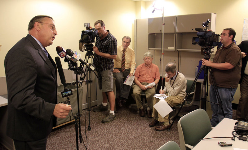 GOP gubernatorial candidate Paul LePage speaks Monday at a news conference in Augusta where he outlined his vision for improving job creation and the state's business climate. LePage is leading the five-candidate field in the governor's race, according to recent polling.