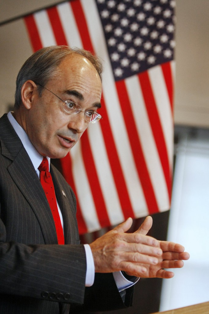 Bruce Poliquin, former Republican candidate for governor, speaks for Paul LePage at a Scarborough Kiwanis Club meeting Friday. Poliquin is working full time for LePage.