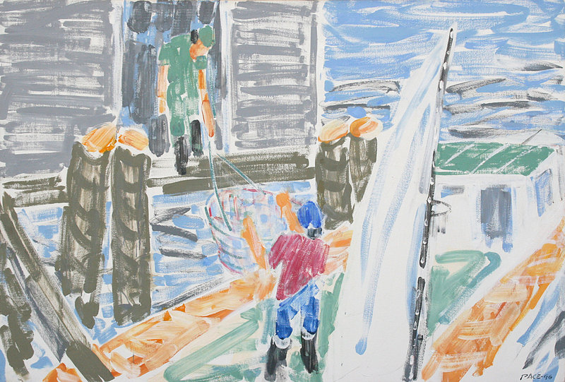 """Stephen Pace's """"Loading Bait,"""" an example of his later work that reflected the hard-working people of Maine and Indiana."""