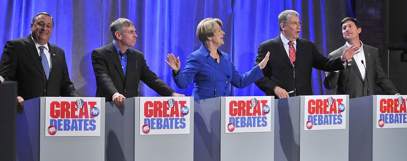 Republican Paul LePage, independent Shawn Moody, Democrat Libby Mitchell, independent Eliot Cutler and independent Kevin Scott are shown during Saturday s Great Debate at the University of Maine at Augusta.