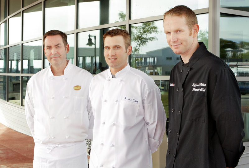 Chefs William Clifford of the Portland Harbor Hotel, Kelly Patrick Farrin of Azure Cafe in Freeport and Clifford Pickett of Dimillo's in Portland are the three finalists in the Maine Lobster Chef of the Year competition.