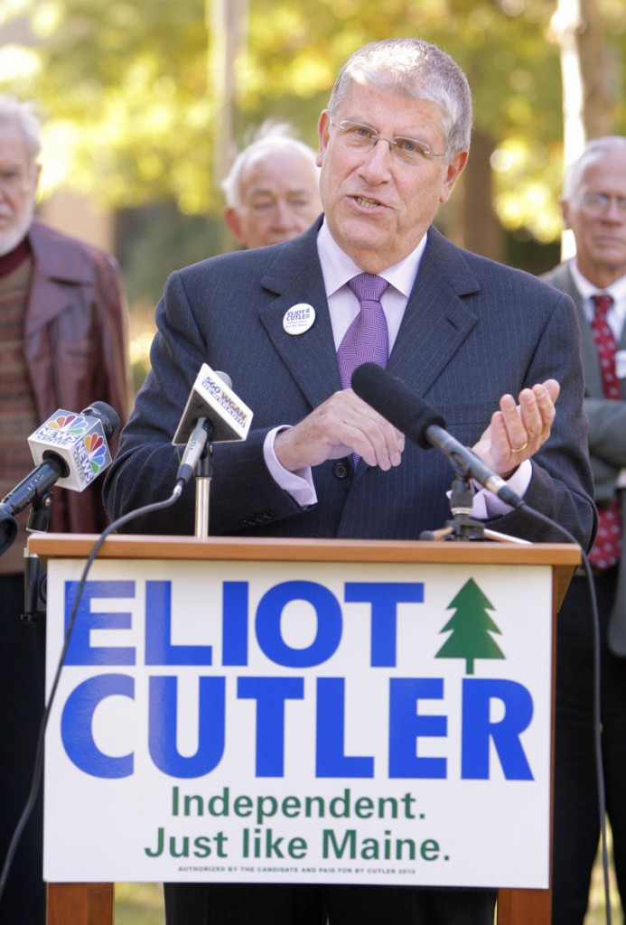 "Gubernatorial candidate Eliot Cutler at a press conference at Deering Oaks Park in Portland Tuesday said the Maine Education Association and Libby Mitchell were an ""unholy alliance."""