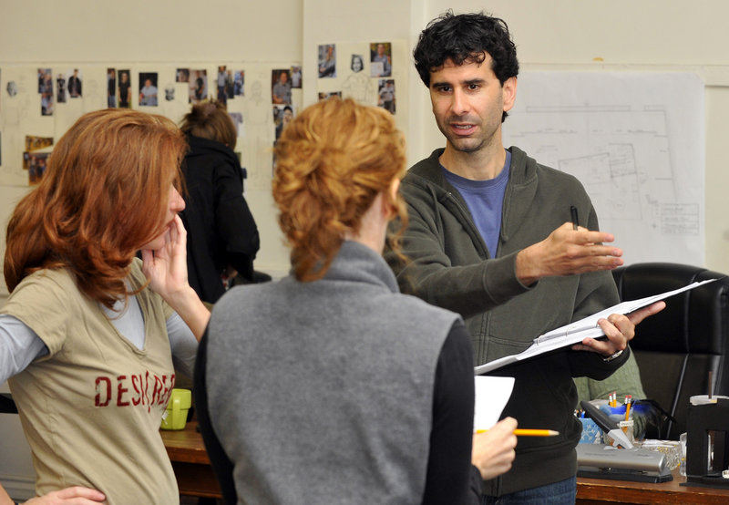 "John Cariani discusses his play, ""Last Gas,"" with director Sally Wood, left, and actress Kathy McCafferty as they shape it before its premiere this week at Portland Stage Company."