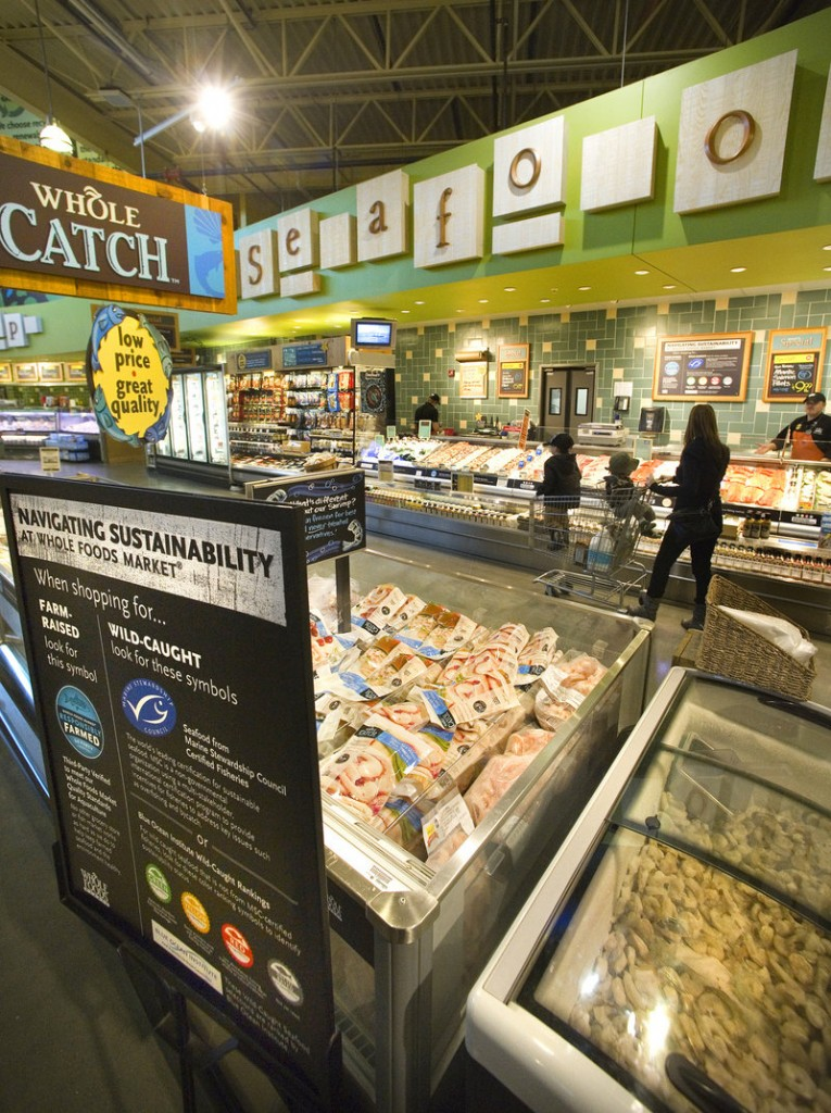 "Whole Foods Market in Portland has launched a seafood program with color-coded signs indicating a fish's level of sustainability. Green, or ""best choice"" ratings, means a species is relatively abundant and caught in environmentally-friendly ways. A yellow rating means there are some concerns with a fish's status or catch methods. Red means ""avoid"" because the species is suffering from overfishing, or the methods used to catch it are harmful to other marine life or habitats. Whole Foods has already stopped selling many red-rated species."