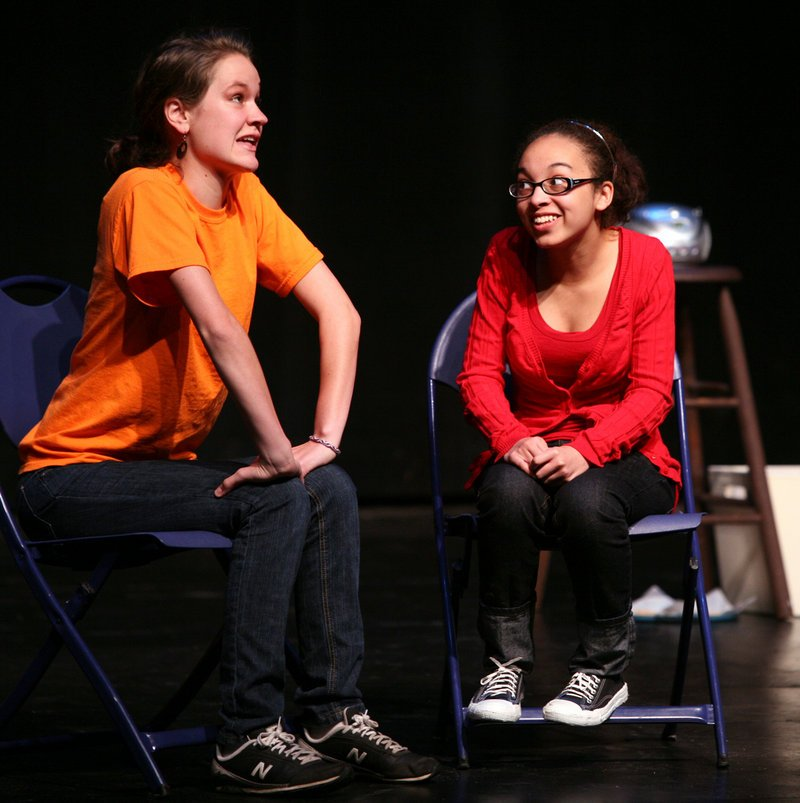 "Hillary Perry, left, and Angelica Phipps perform a piece titled ""I'm Not Gay, But Thank You"" during the Out & Allied Project at USM's Russell Hall in Gorham."
