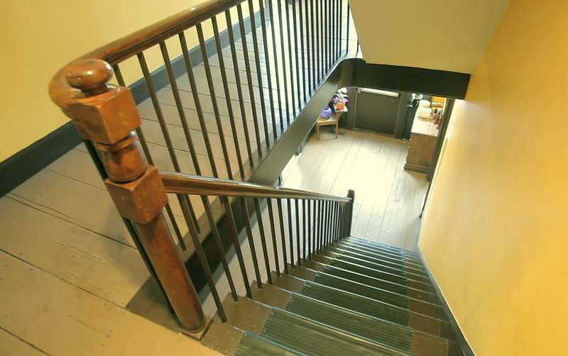 Visitors to the Maine Street Grill are urged to be cautious on the stairs, where there have been instances of people feeling pushed by unseen forces.
