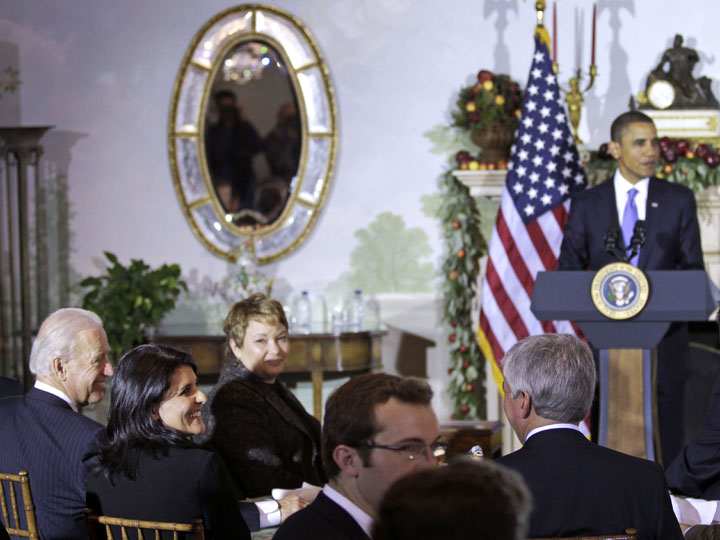 South Carolina Gov.-elect Nikki Haley, second from left, is seated with Vice President Joe Biden, left, and EPA Administrator Lisa Jackson, third left, as President Barack Obama speaks to newly elected governors during a luncheon at the Blair House in Washington today.