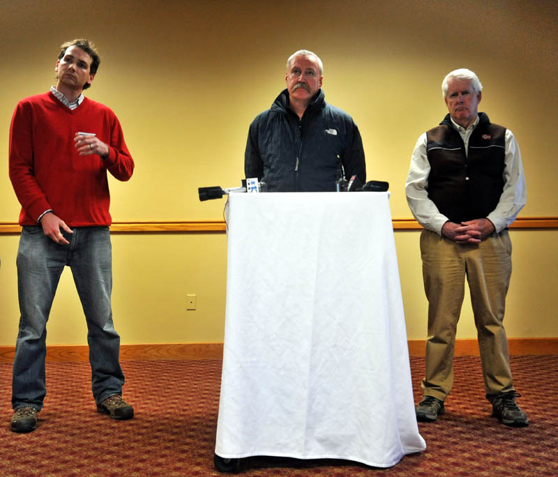 Sugarloaf representatives, from left to right, Brad Larsen, vice president of sales and marketing, Richard Wilkinson, vice president of mountain operations, and John Diller, general manager, hold a press conference at Sugarloaf Tuesday afternoon. A chairlift derailed in high winds at Maine's tallest ski mountain Tuesday, sending skiers plummeting as far as 30 feet to the slope below and injuring several people.