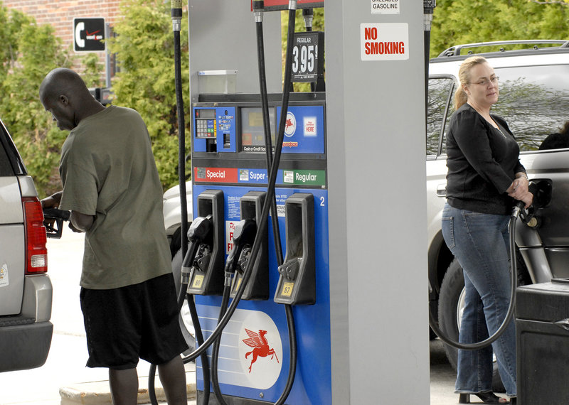 Portlanders fill up in May 2008, when the price of gas topped $4 a gallon for a brief time. A reader says Mainers are paying enough.
