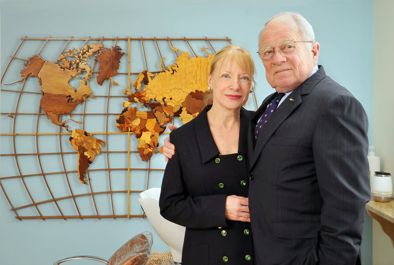 F. Lee Bailey poses with his business partner and girlfriend, Debbie Elliott, in her salon in Yarmouth. Bailey and Elliott Consulting helps clients on a wide range of business matters.