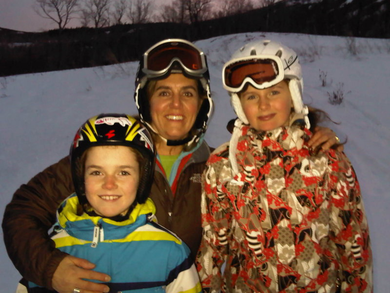 Beth Newlands Campbell is shown at Sugarloaf on Thursday with her two daughters, Caleigh, 9, and Caroline, 12.