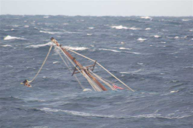 Raw Faith sank in approximately 6,000 feet of water off Nantucket, Mass., on Wednesday. The Coast Guard rescued the only two people aboard the ship Tuesday after it began taking on water in rough seas.