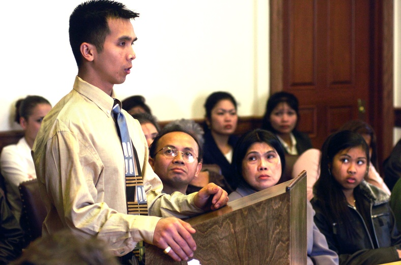 Touch Rin Svay, seen at his 2004 pardon hearing, could have been deported to Cambodia if Gov. John Baldacci had not acted. Alcohol Doug Jones Fatal Accident automobile Murder Vehicular Manslaughter