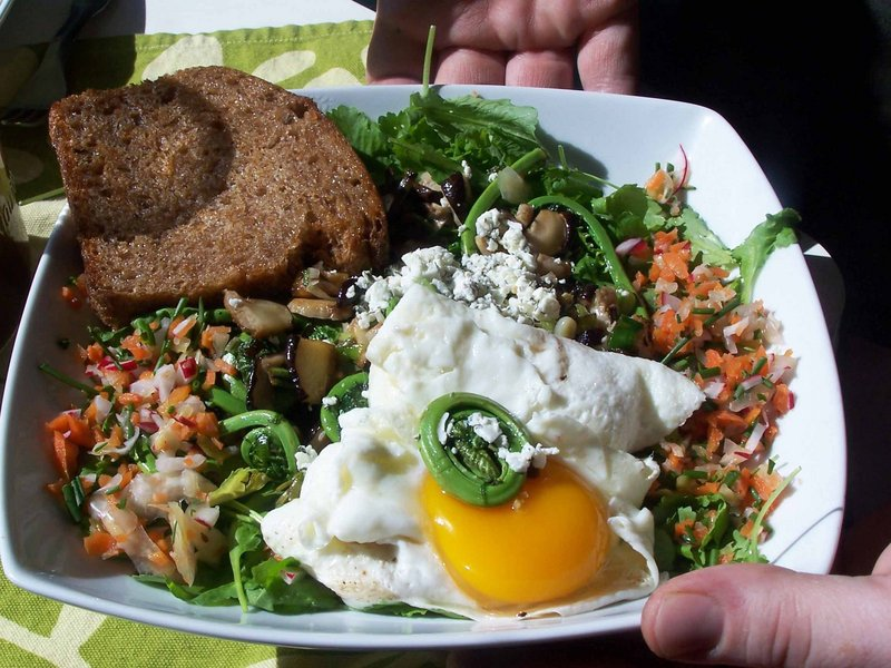 Sunny-side-up egg with spring greens, fiddleheads, fermented slaw and spelt toast; and a sweet and spicy tempeh salad with nasturtium garnish.