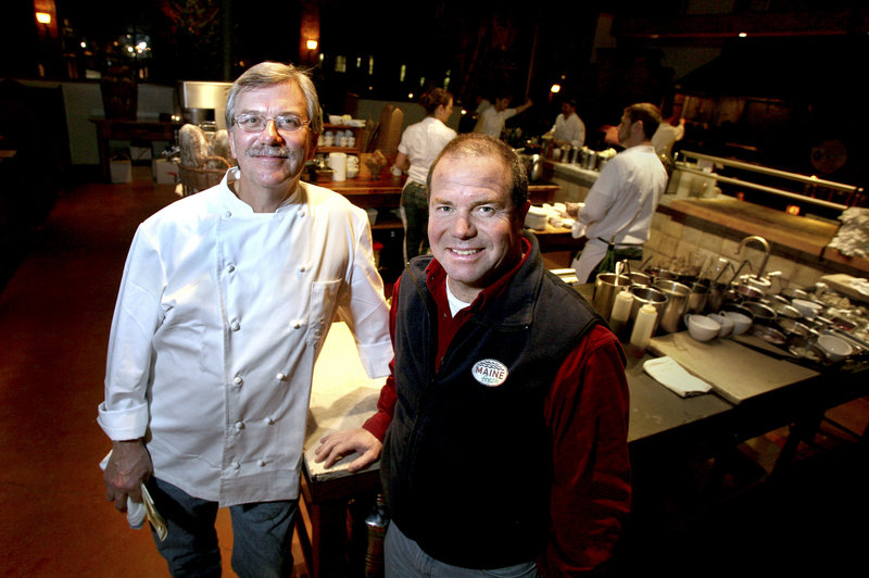 Chef Sam Hayward, left, and Maine Fresh CEO Jeff Johnson at Hayward's Fore Street restaurant. Twenty-five percent of net proceeds from Maine Fresh seafood pie sales will go to the Cobscook Community Learning Center, which works to improve the lives of residents of Washington County, one of the poorest counties in the country.