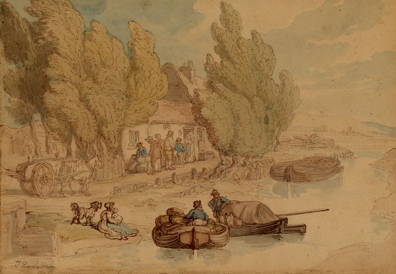 "British artist Thomas Rowlandson's ""Norfolk Broads,"" circa 1795, watercolor, graphite and ink, from the Portland Museum of Art's ""European Drawings,"" opening in March."