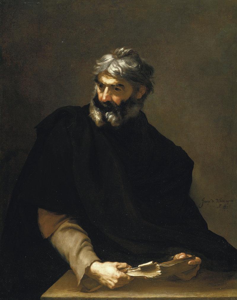 "usepe de Ribera's ""A Philosopher (possibly Protagoras),"" 1637."