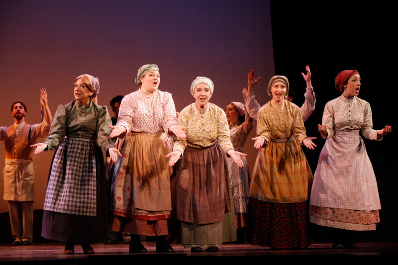 Birdie Katz, left, a Maine State Music Theatre alum, is Yente, the Matchmaker, in the national Broadway tour of