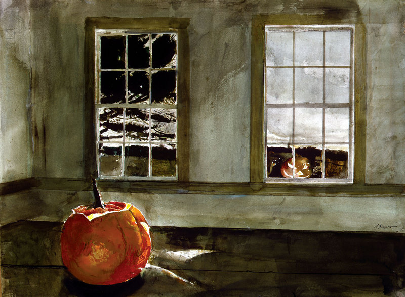 """""""Mischief Night,"""" a 1994 watercolor by Andrew Wyeth."""