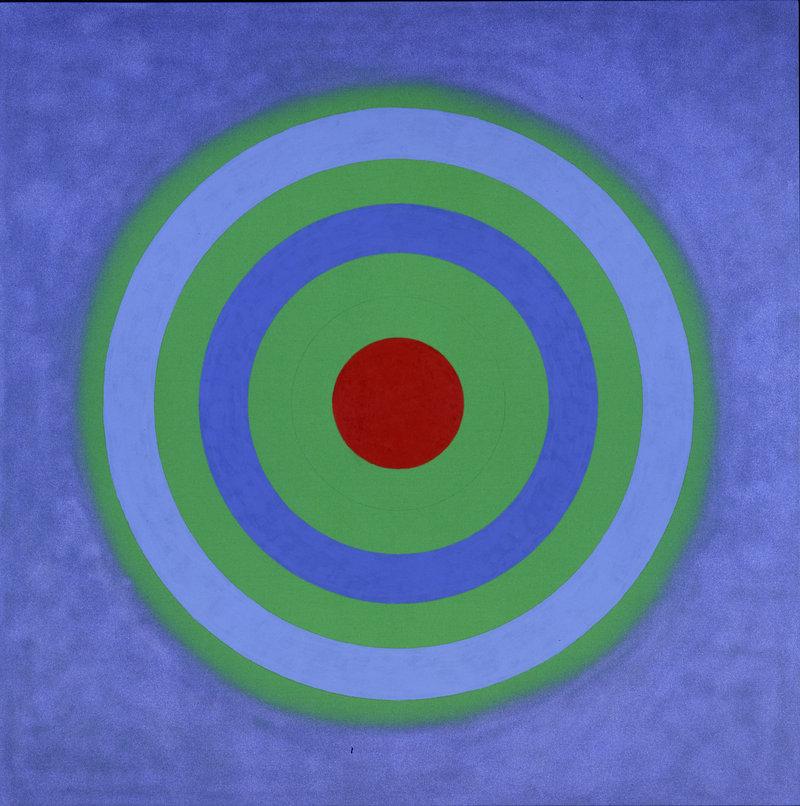"Kenneth Noland's ""Mysteries: Primal Blue,"" 2002, acrylic on canvas."