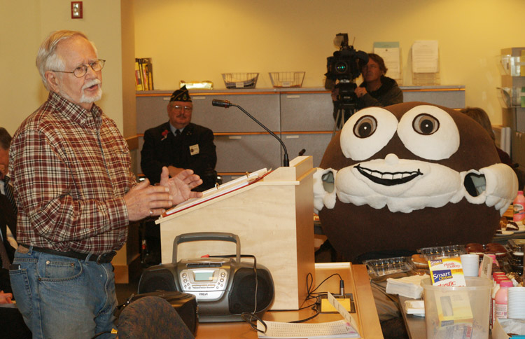 John Linscott testifies before the Legislature's State and Local Government Committee today in favor of a bill to make the Whoopie Pie the official dessert of the state of Maine.