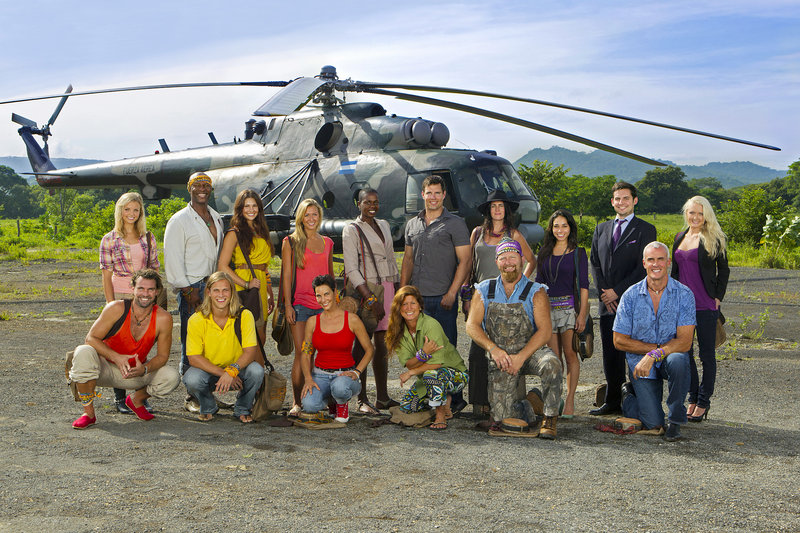 """The new castaways on """"Survivor: Redemption Island"""" include, front row from left, Grant Mattos, Matt Elrod, Kristina Kell, Julie Wolfe, Ralph Kiser and Steve Wright; back row from left, Andrea Boehlke, Phillip Sheppard, Natalie Tenerelli, Ashley Underwood, Francesca Hogi, Mike Chiesl, Sarita White, Stephanie Valencia, David Murphy and Krista Klumpp. Former contestants Russell Hantz and """"Boston"""" Rob Mariano will also join the cast in the 22nd installment of the Emmy-winning reality series. The new show premieres at 8 p.m. Feb. 16."""